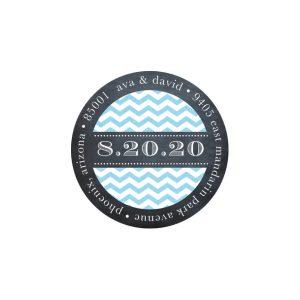 Chevron Chalkboard Blue Return Address Sticker
