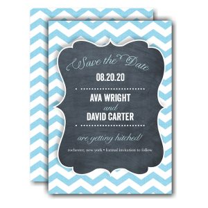 Chevron Chalkboard Blue Save the Date Card Icon