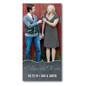 Chevron Chalkboard Blue Save the Date Magnet