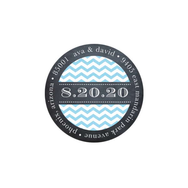 Chevron Chalkboard Blue Text Return Address Sticker