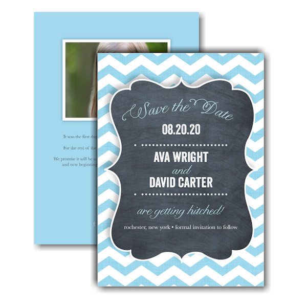 Chevron Chalkboard Blue Text Save the Date Card