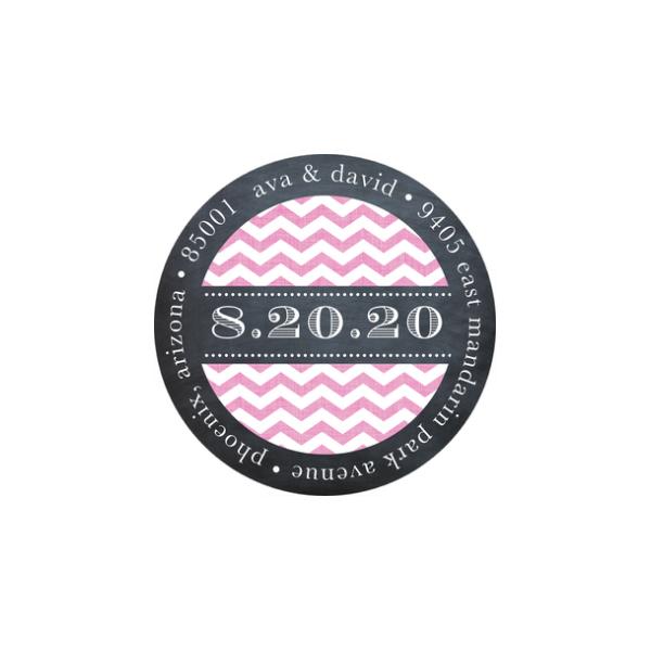 Chevron Chalkboard Pink Return Address Sticker
