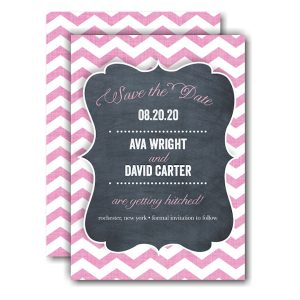 Chevron Chalkboard Pink Save the Date Card Icon