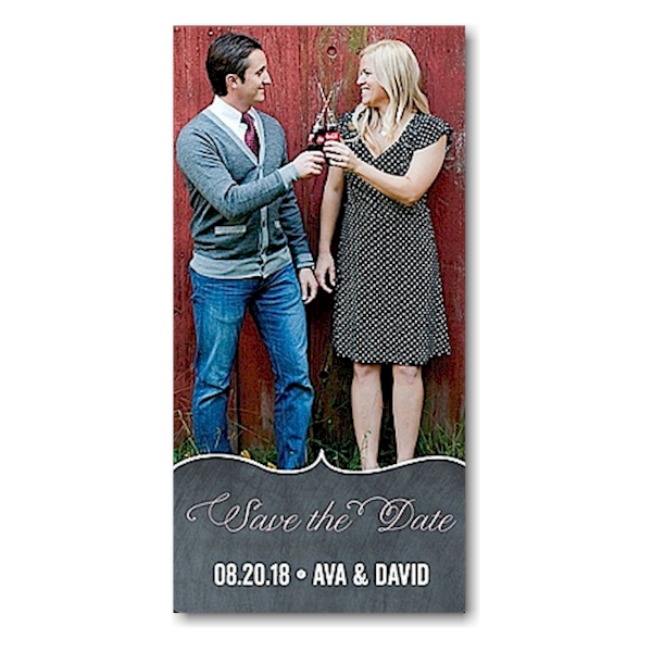 Chevron Chalkboard Pink Save the Date Magnet