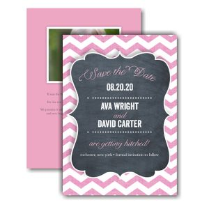 Chevron Chalkboard Pink Text Save the Date Card Icon