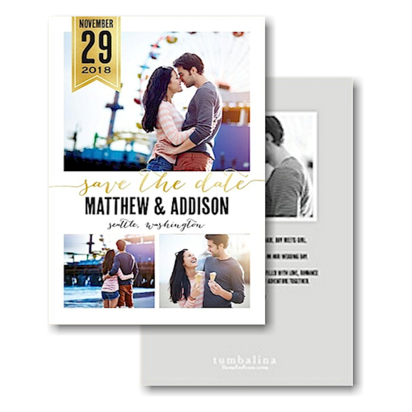 Chic Banner Text Save the Date Card