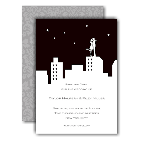 City Silhouette Save the Date Card Icon