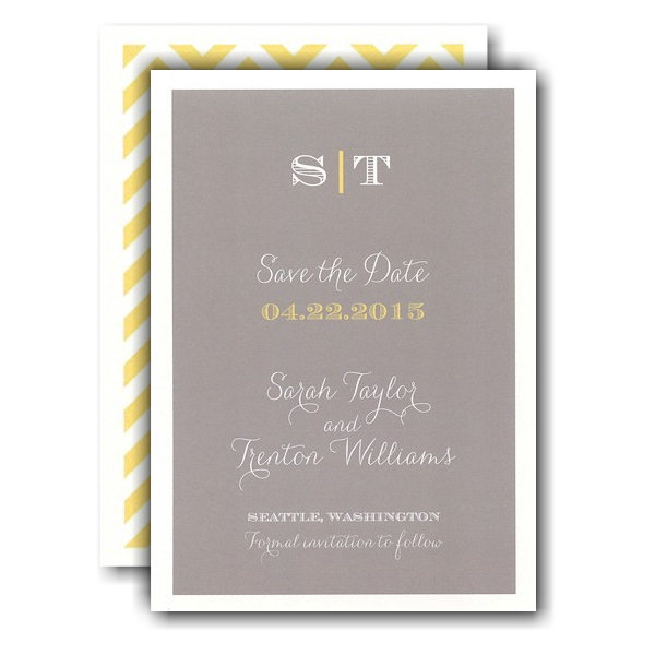 Classic Grey Simplicity Save the Date Card