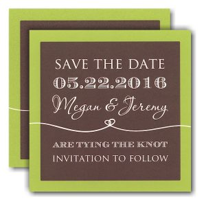 Coffee and Lime Tie the Knot Save the Date Card Icon