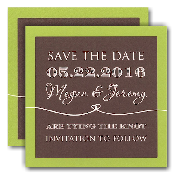 Coffee and Lime Tie the Knot Save the Date Card