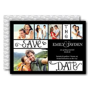 Collage White Save the Date Card Icon