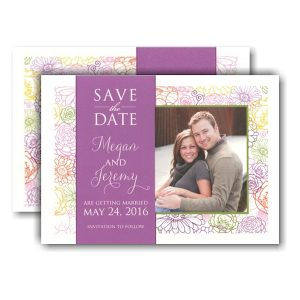 Colorful Floral Band Photo Save the Date Card Icon