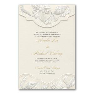 Contemporary Floral in Ecru Wedding Invitation Icon