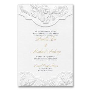 Contemporary Floral in White Wedding Invitation Icon