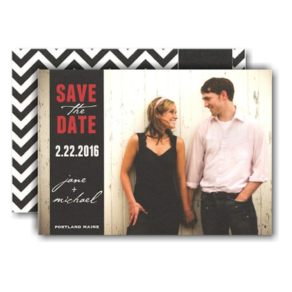 Custom Band Over Full Photo Save the Date Card Icon