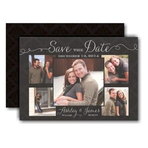 Damask Beautiful Photo Save the Date Card Icon