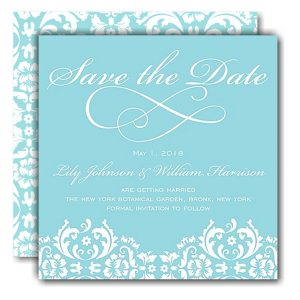 Damask Date Blue Save the Date Card