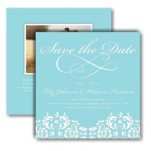 Damask Date Blue Text Save the Date Card Icon