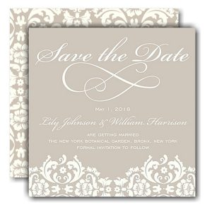 Damask Ivory Save the Date Card Icon