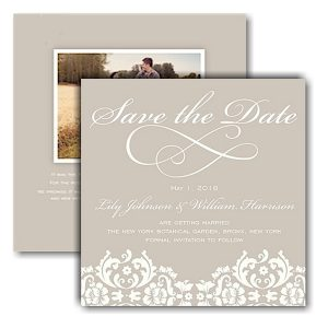 Damask Ivory Text Save the Date Card Icon