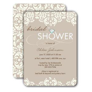 Damask Shower Ivory Bridal Shower Invitation Icon