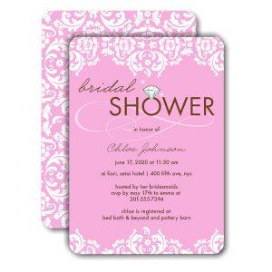 Damask Shower Pink Bridal Shower Invitation Icon
