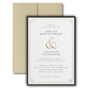 Deco Dots and Lines Layered Pocket Wedding Invitation Icon