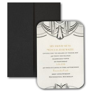 Deco Glamour Pocket Wedding Invitation Icon
