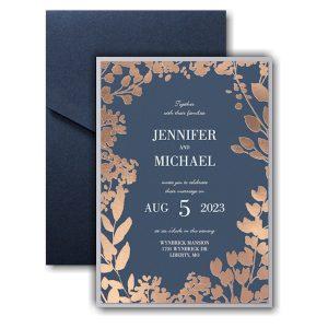 Decorative Floral Border Layered Pocket Wedding Invitation Icon