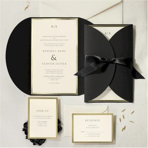 Decorative Treasure in Black Wedding Invitation alt