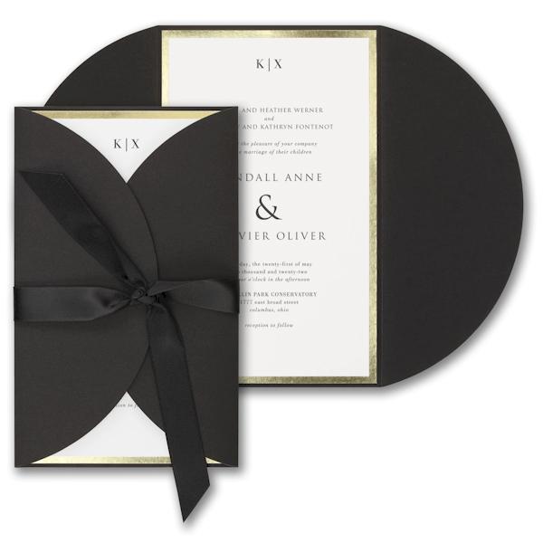 Decorative Treasure in Black Wedding Invitation