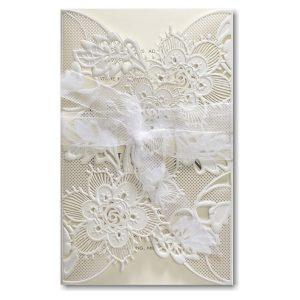 Delicate Lace in Ecru with Ecru Wrap Wedding Invitation Icon