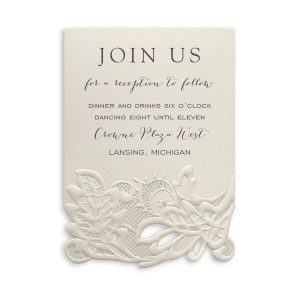 Delicate Lace in Ecru with White Wrap Reception Card