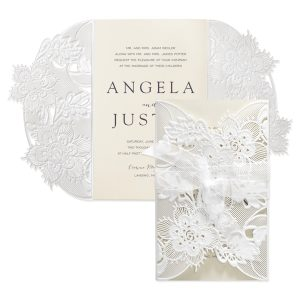 Delicate Lace in Ecru with White Wrap Wedding Invitation