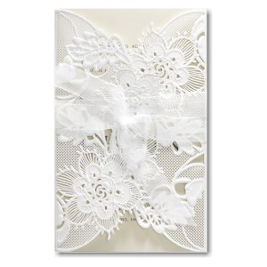 Delicate Lace in Ecru with White Wrap Wedding Invitation Icon