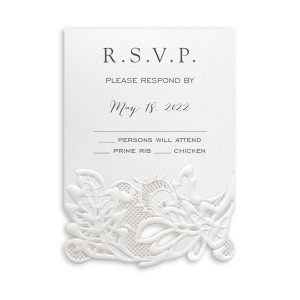 Delicate Lace in White with Ecru Wrap Response Card