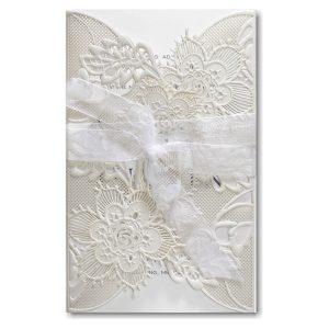Delicate Lace in White with Ecru Wrap Wedding Invitation Icon