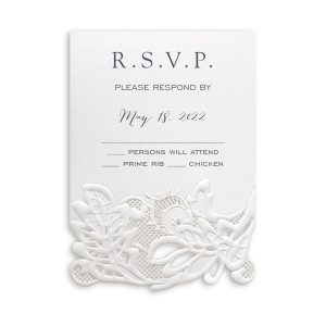 Delicate Lace in White with White Wrap Response Card