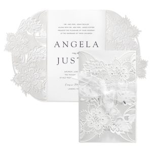 Delicate Lace in White with White Wrap Wedding Invitation