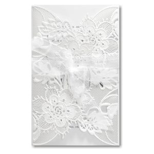 Delicate Lace in White with White Wrap Wedding Invitation Icon