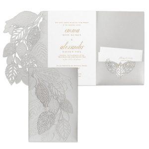 Delightful Leaves in Silver Pocket Wedding Invitation