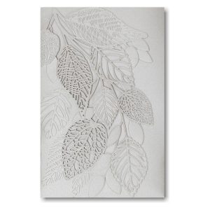 Delightful Leaves in Silver Pocket Wedding Invitation Icon