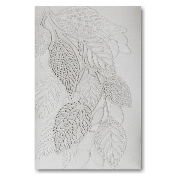 Delightful Leaves in Silver Pocket Wedding Invitation Icon