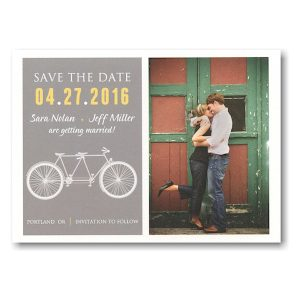 Designer Tandem Bike Save the Date Postcard Icon