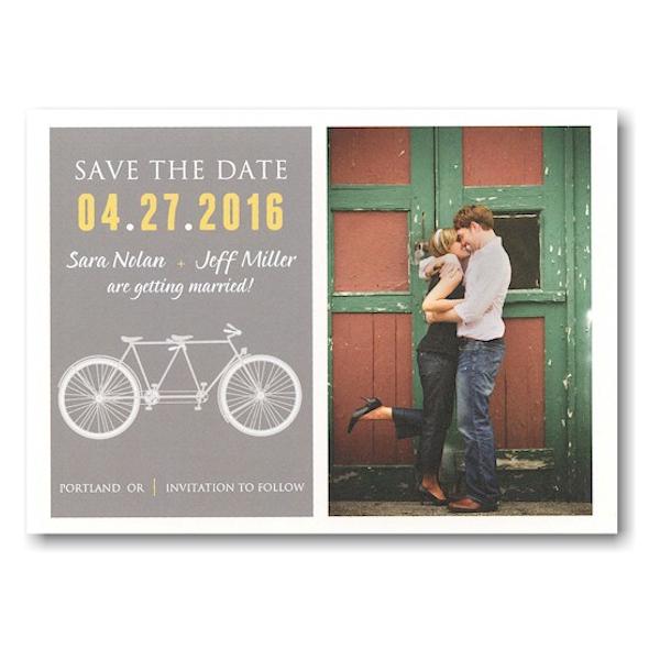 Designer Tandem Bike Save the Date Postcard Icon