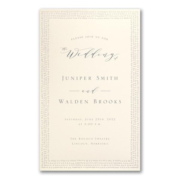 Dotted Border in Ecru Wedding Invitation