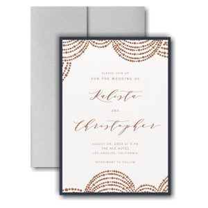 Dotted Garland Layered Pocket Wedding Invitation Icon