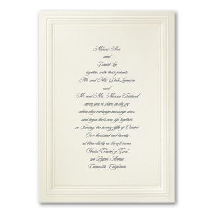 Ecru Embossed Borders Wedding Invitation Icon