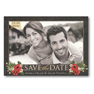 Elegant Floral Banner Photo Save the Date Card Icon
