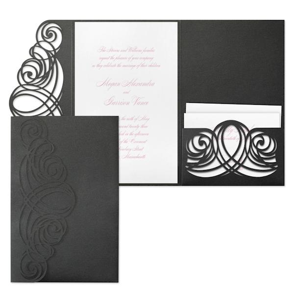 Elegant Sophistication in White Pocket Wedding Invitation